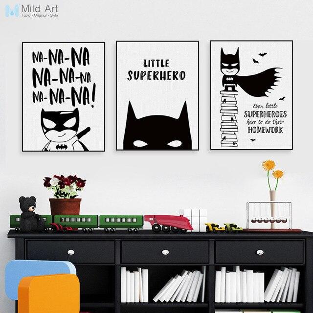 Nordic Black White Superhero Batman Hippie Quote Poster Boy Kids ...