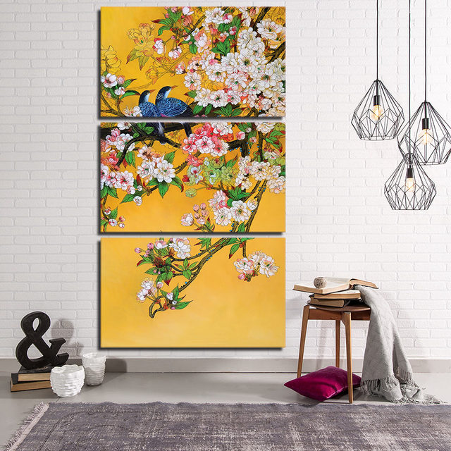 High Quality canvas art flowers and birds wall paintings chinese ...