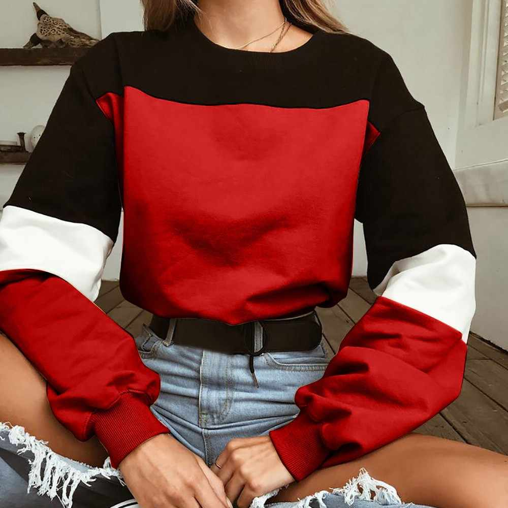 Autumn Women's Short Hoodies Long Sleeve Patchwork O-Neck Sweatshirt Pullover Tops Blouse Pullover Female Casual Hoodies
