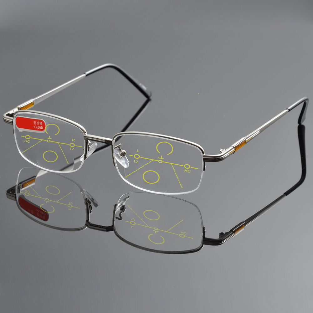 1460f693be NO LINE Bifocal Progressive multifocal Reading Glasses High Quality  Titanium Alloy Half-Rim Gray Frame Sph 0 Add 1 To Add 4 - a.jonzee.me