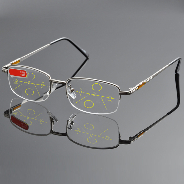 298359e563a1 NO LINE Bifocal Progressive multifocal Reading Glasses High Quality Titanium  Alloy Half-Rim Gray Frame Sph 0 Add 1 To Add 4