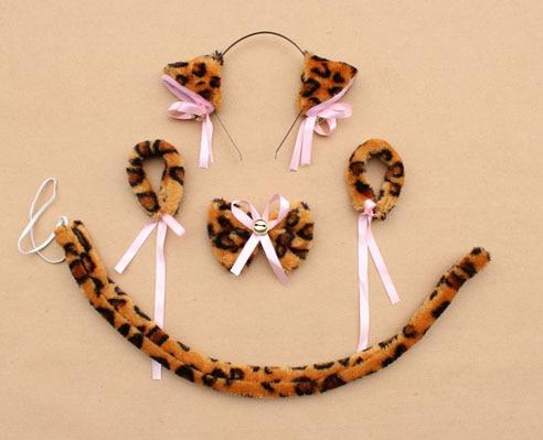 Повязка на голову с ушками neko в виде животных, белого, черного цвета, кота, тигра, аниме, хвоста 60 см, плюшевые перчатки, рождественские, пасхальные, вечерние, для взрослых и детей - Цвет: style 10