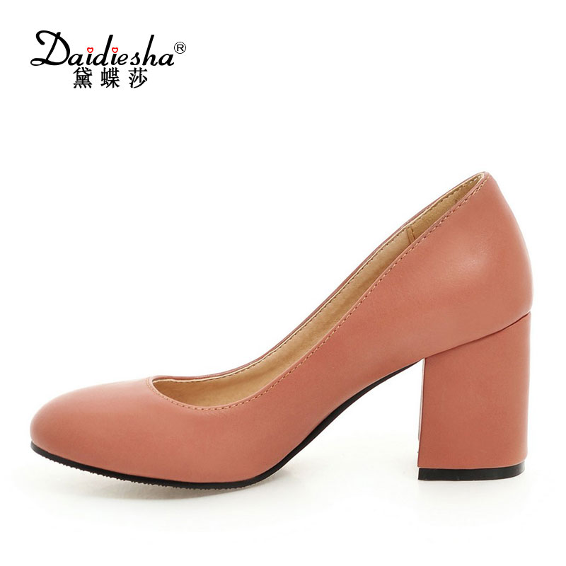 Spring Summer Women Thick Heels Shoes Top Quality PU Slip-on Sweet Round Toe Working Shoes Square Heel Career High Heel Pumps gold chain party 2017 spring summer casual shallow slip on square toe bling square heels women pumps free ship mujer pantufa