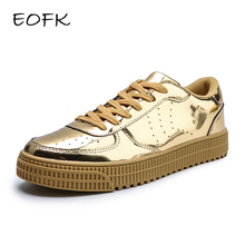 EOFK Women Gold Sneakers Spring Autumn Fashion Golden Shiny Glossy Woman