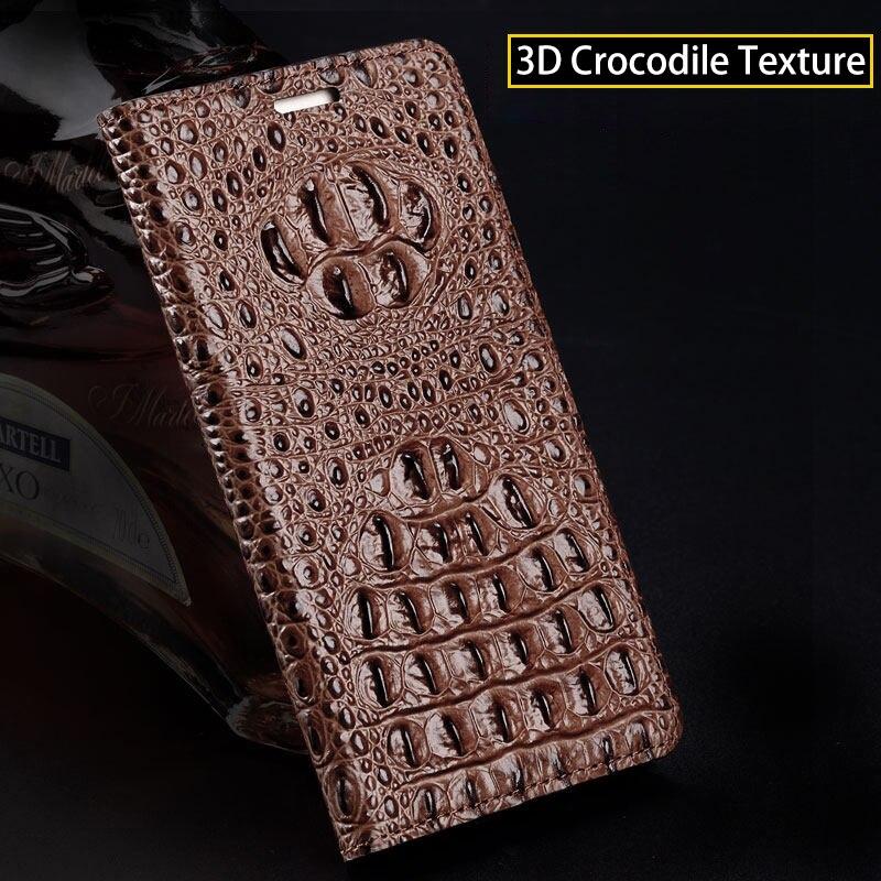 Marca do crocodilo padrão de volta caso de telefone Para Huawei P20 lite Genuine leather flip phone case caso de telefone fivela Magnética