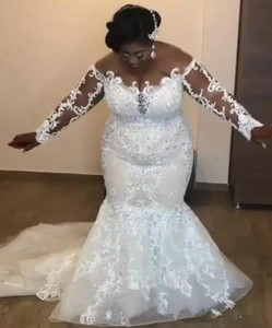 Image 2 - Amazing African Mermaid Wedding Dresses Luxury Beaded Lace Appliques Long Sleeve Bridal Gowns Sexy Sheer Plus Size Wedding gowns