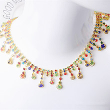 SINUAN Strass Chain Multi-Colored Crystal Glass Sew-On Rhinestone Crafts Tape Glass Shiny Stones Crystals Stone For Crafts