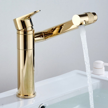 Bathroom Basin Faucets Solid Brass Sink Mixer Tap Hot and Cold Rotating Lavatory Mixer Crane Tap Single Handle Free Shipping