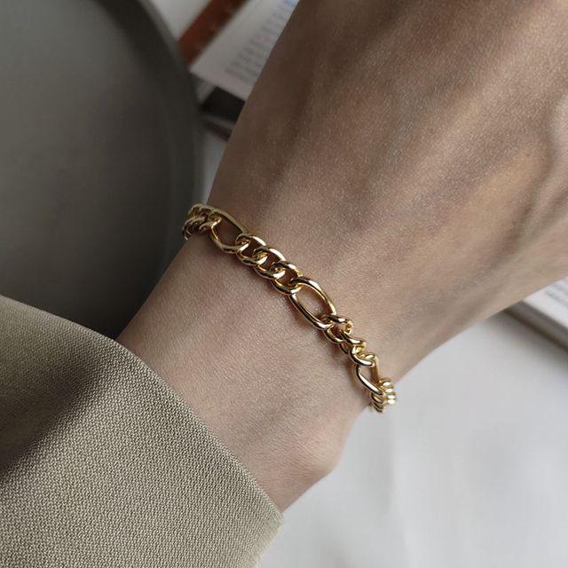Silvology 925 Sterling Silver Crude Chain Bracelets Texture Temperament Elegant Korea Bracelets For Women Friendship Jewelry