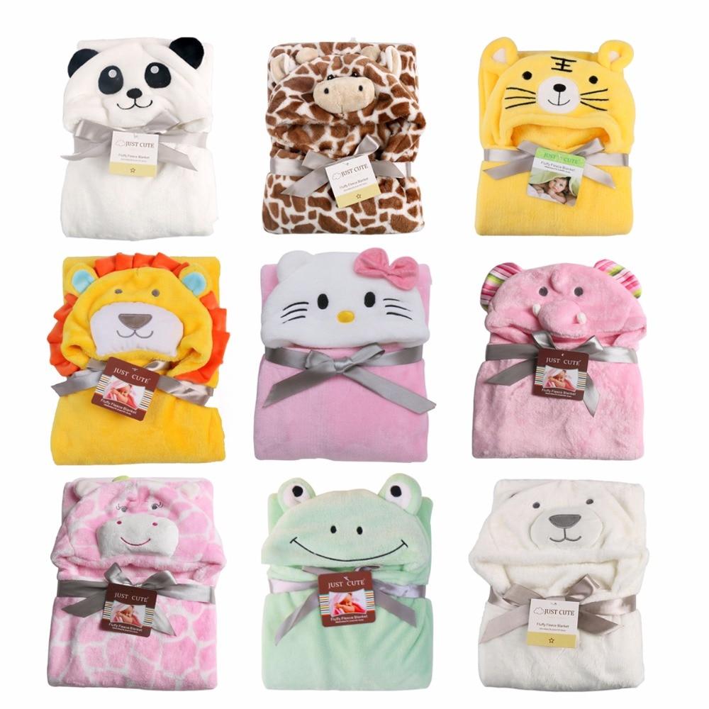 Baby Flannel Hooded Badrock Tecknade Djur Pojkar Flickor Nyfödda Bad - Sängkläder