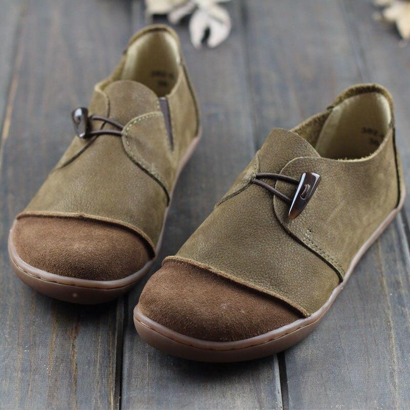 IMTER chaussures femme en cuir véritable dames chaussures plates bout rond sans lacet ballerine chaussures pieds nus semelle femmes appartements (382-5)