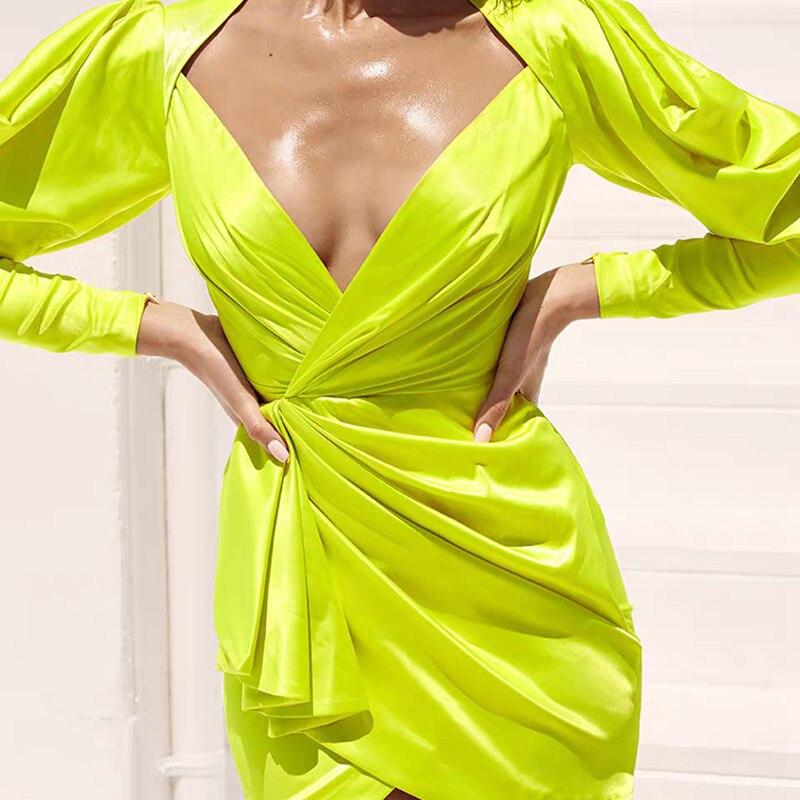 Newest Style 2019 Fashion Neon Green Lantern Sleeve Sexy Women Summer Dress V Neck Irregular Drape Wrap Hip Club Dress Wholesale