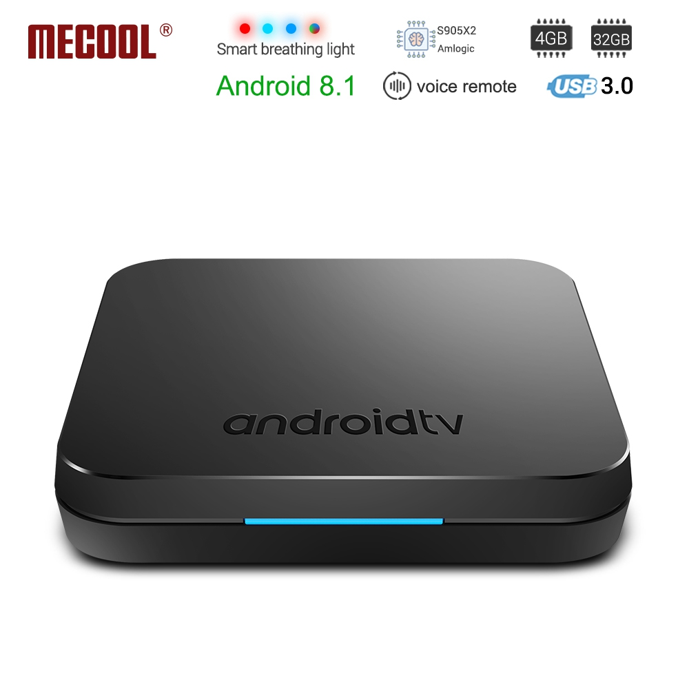 Mecool KM9 Android 8,1 caja de TV inteligente S905X2 4 GB DDR4 RAM 32 GB ROM 5G WIFI Bluetooth 4,1 4 K HD Control de voz Set Top Box