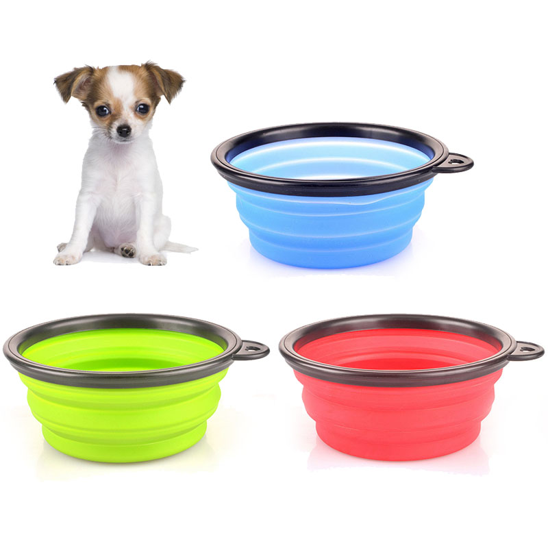 Silicone collapsible feeding bowl for pet dog outdoor ...