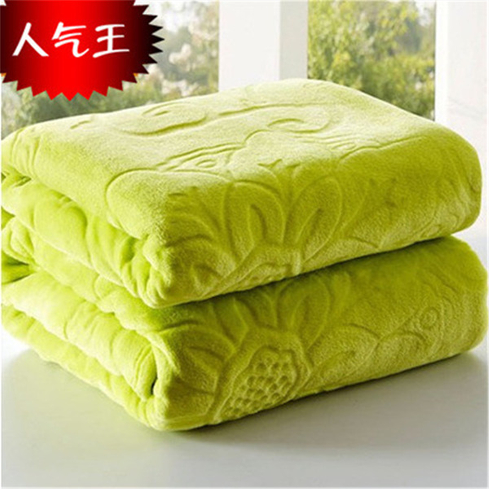 Image 4 - Blanket On The Bed Faux Fur Coral Fleece Mink Throw Solid Color  Embossed Korean Style Sofa Cover Plaid Couch Chair Blanketthe  blanketsmink throwblanket blanket