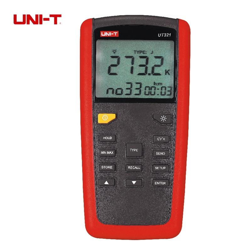 Uni-t ut321 termometro digital k/j/t/tipo de sensor de temperatura testador com lcd backlighgt e usb