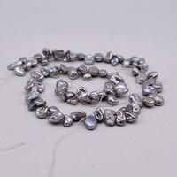 Серебристо-серый свободный жемчуг. Жемчужное ожерелье барокко длиной 38 см и диаметром 9 мм, полуфабрикатов аксессуар для ди