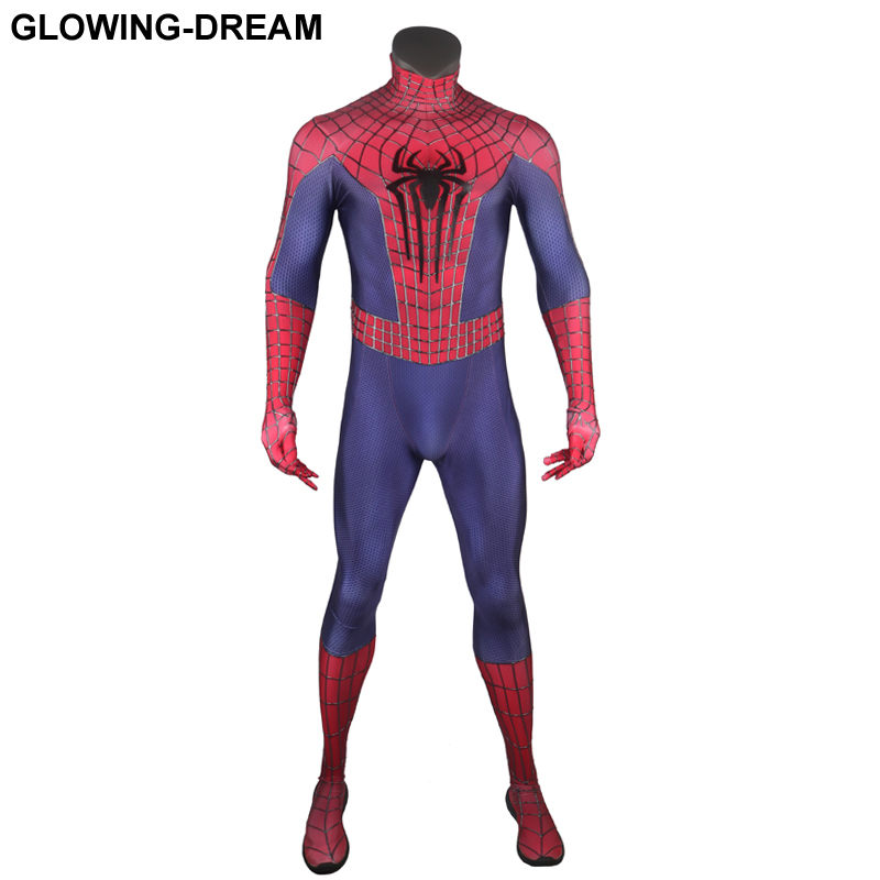 High Quality Relief Cobwebs Relief Spider Amazing Spiderman Cosplay Costume With U-zipper 3D Webs Spiderman Fullbody Zentai Suit