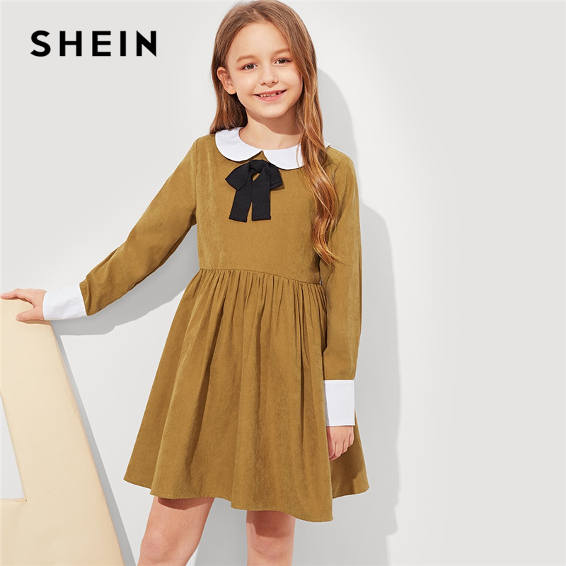 SHEIN Kiddie Brown Girls Contrast Collar Bow Front Preppy Dress Kids Clothes 2019 Spring Long Sleeve Zipper Casual Girls Dresses girls contrast tape pants