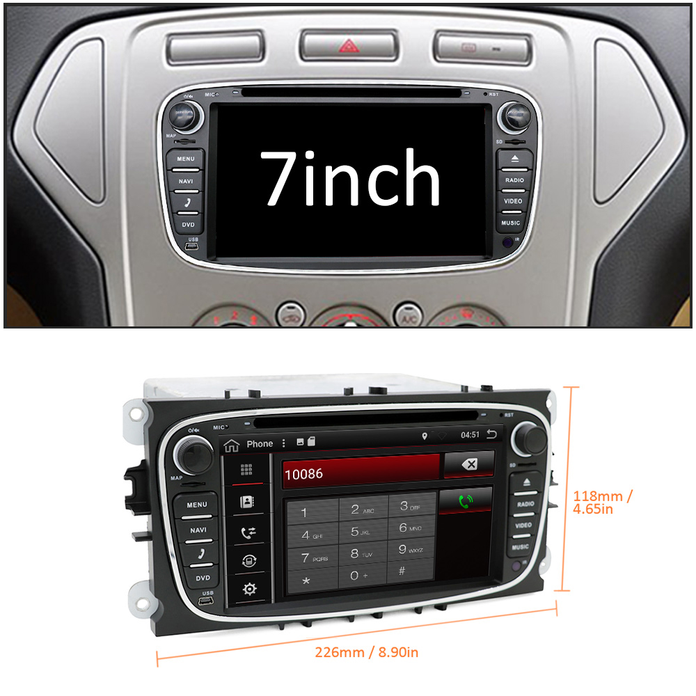 Sale Eunavi 2 din Android 9.0 Car DVD Radio Multimedia GPS for FORD Focus Mondeo S-MAX C-MAX Galaxy 4G 64G IPS DSP TDA7803A head unit 1