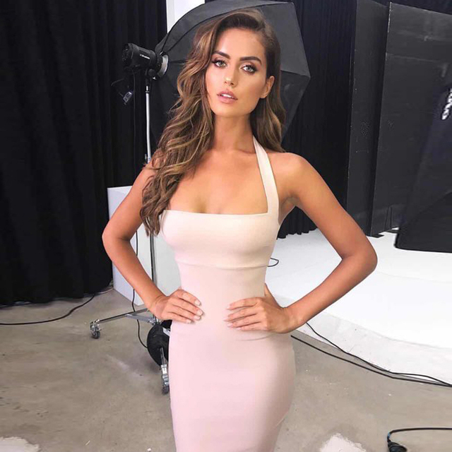 Adyce Summer Bandage Dress Women Vestidos Verano 2018 New Sexy Bodycon Celebrity Party Dress Elegant Halter Midi Dress Clubwears 5