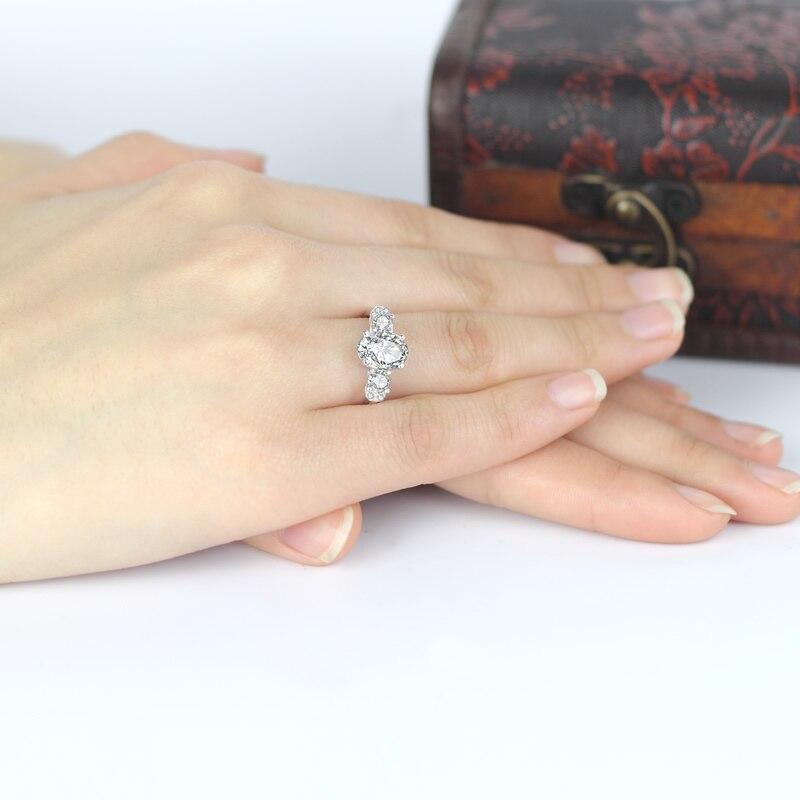Prong Set üçlü daş üzük 925 gümüş SONA ildönümü nişan - Gözəl zərgərlik - Fotoqrafiya 6