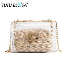 9fb61a37cc52 Small PVC Transparent Crossbody Bag for Women Travel Summer Beach Shoulder Bag  Fashion Rivets Chain Clear