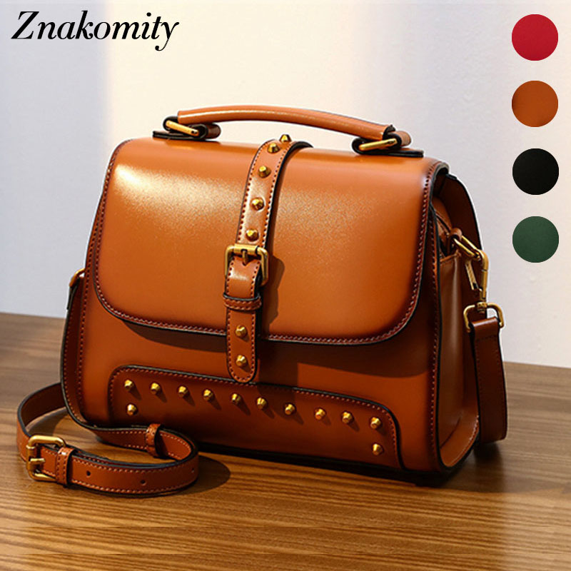 Znakomity Small retro shoulder bag genuine leather crossbody bags for women Brown real leather handbag rivet messenger bag black znakomity new shoulder bag real women s genuine leather handbag wine red fashion brown black tote bag top handle hand bags women