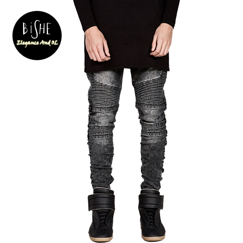 BiSHE Mens Skinny Jeans Men Slim Elastic Jeans Denim Biker Jeans Hip Hop Pencil Pants Washed Vintage Pleated Jeans Black White mens skinny jeans men runway distressed slim elastic jeans denim biker jeans hip hop pants washed pleated jeans blue