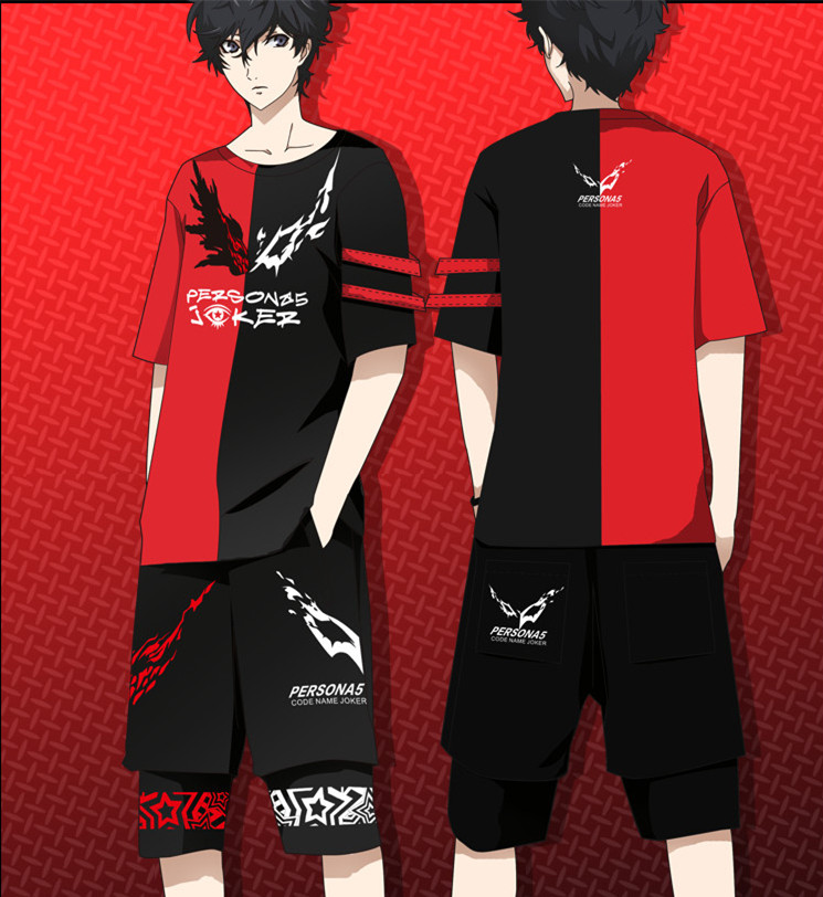Hot Anime Persona 5 Joker Cosplay Clothing Ren Amamiya Cosplay T-Shirt And Shorts Summer Style 100% Elastic space Cotton Suit