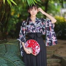 2018 Women Japanese Yukata Haori Kimono Jacket Clothing Belt Skirt Sets Floal Coat Outerwear Tops Harajuku Japanese Traditional