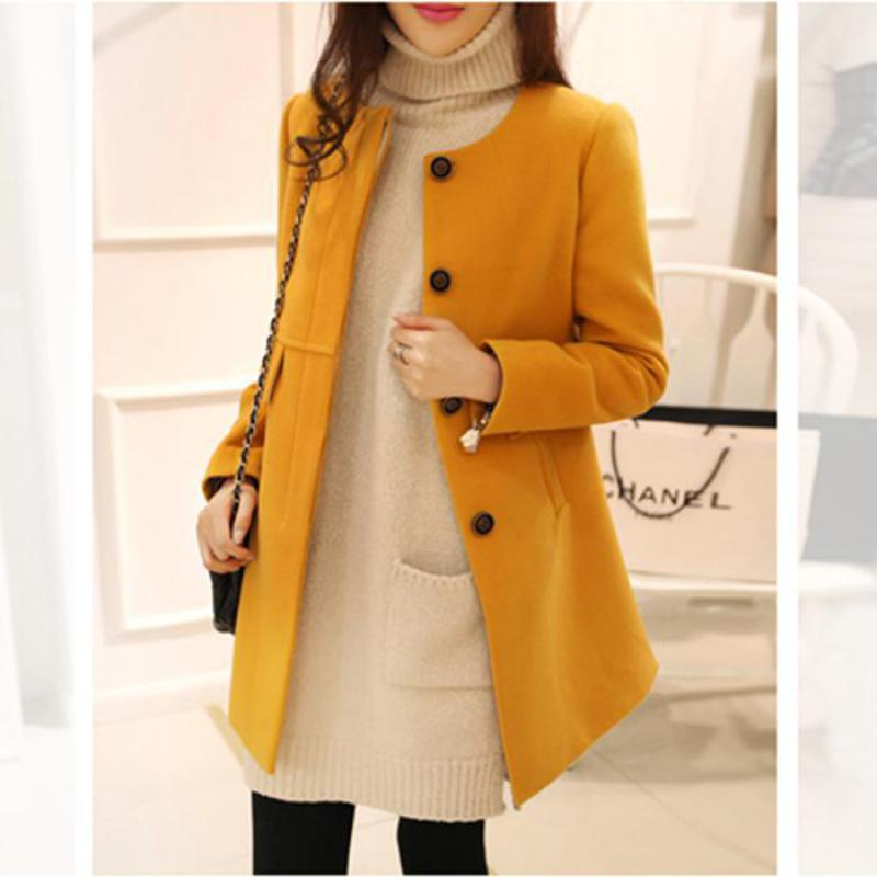 Image 2 - Plus Size Korean Coat Yellow Medium Long Black New 2019 Spring Autumn  Long Sleeved O neck Wool Coat Women Loose A aline CasacosWool & Blends   -