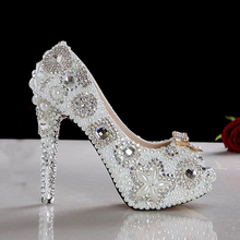 2015 New Peep Toe Wedding Shoes Gorgeous Pearl Bridal Dress Shoes White High Heel Lady Fashion Dress Shoes Party Club Shoes