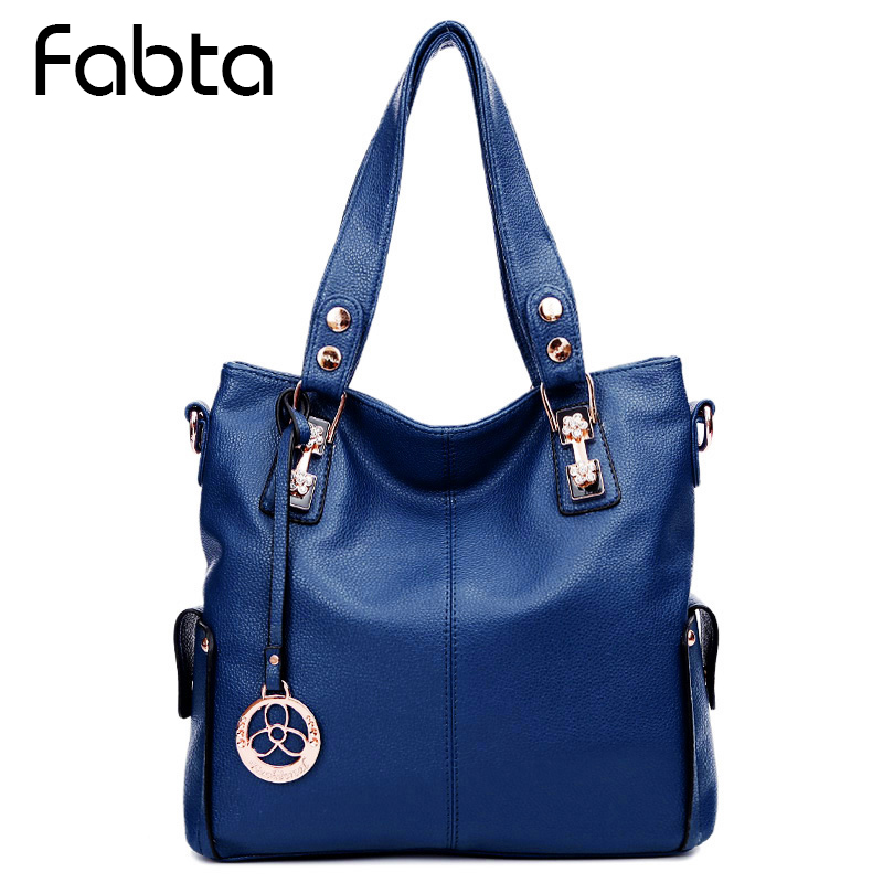 Fabra Brand Shoulder Bags Women Handbags Vintage Soft PU Leather Women Office Bag Fashion Large Capacity Totes Shopping Bag Blue fabra women beach canvas bag patchwork color stripes printing handbags lady large shoulder bag totes casual bolsa shopping bags