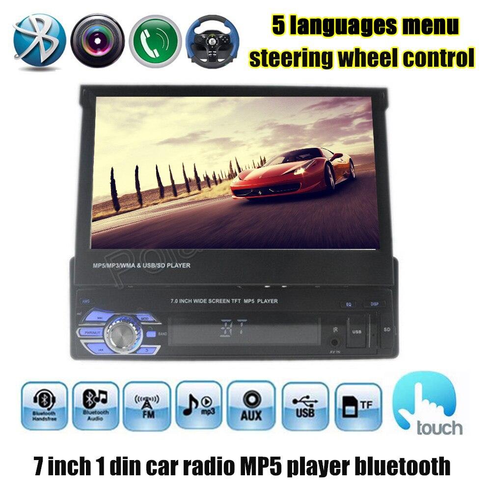 imágenes para 12 V 1 Din Coche reproductor mp4 mp5 FM Estéreo Del Coche transmisor Audio Radio 7 ''HD pantalla digital Pantalla Retráctil Soporte de cámara trasera