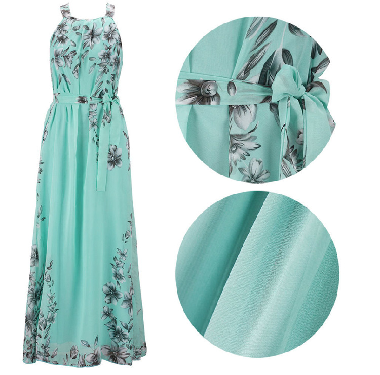 Plus Size S-6XL 2018 Summer New Women's Long Dresses Beach Floral Print Boho Maxi Dress With Sashes Women Clothing D86001L 3