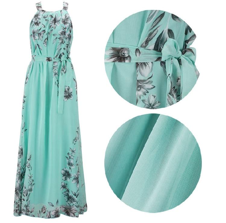 Plus Size S-6XL 2018 Summer New Women's Long Dresses Beach Floral Print Boho Maxi Dress With Sashes Women Clothing D86001L 3