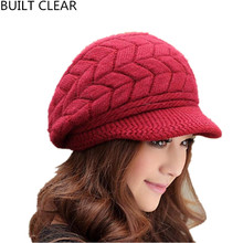 (BUILT CLEAR) Balaclava hot new knitting duck hat winter lady soft double lined with velvet warm wool hat wholesale woman hat