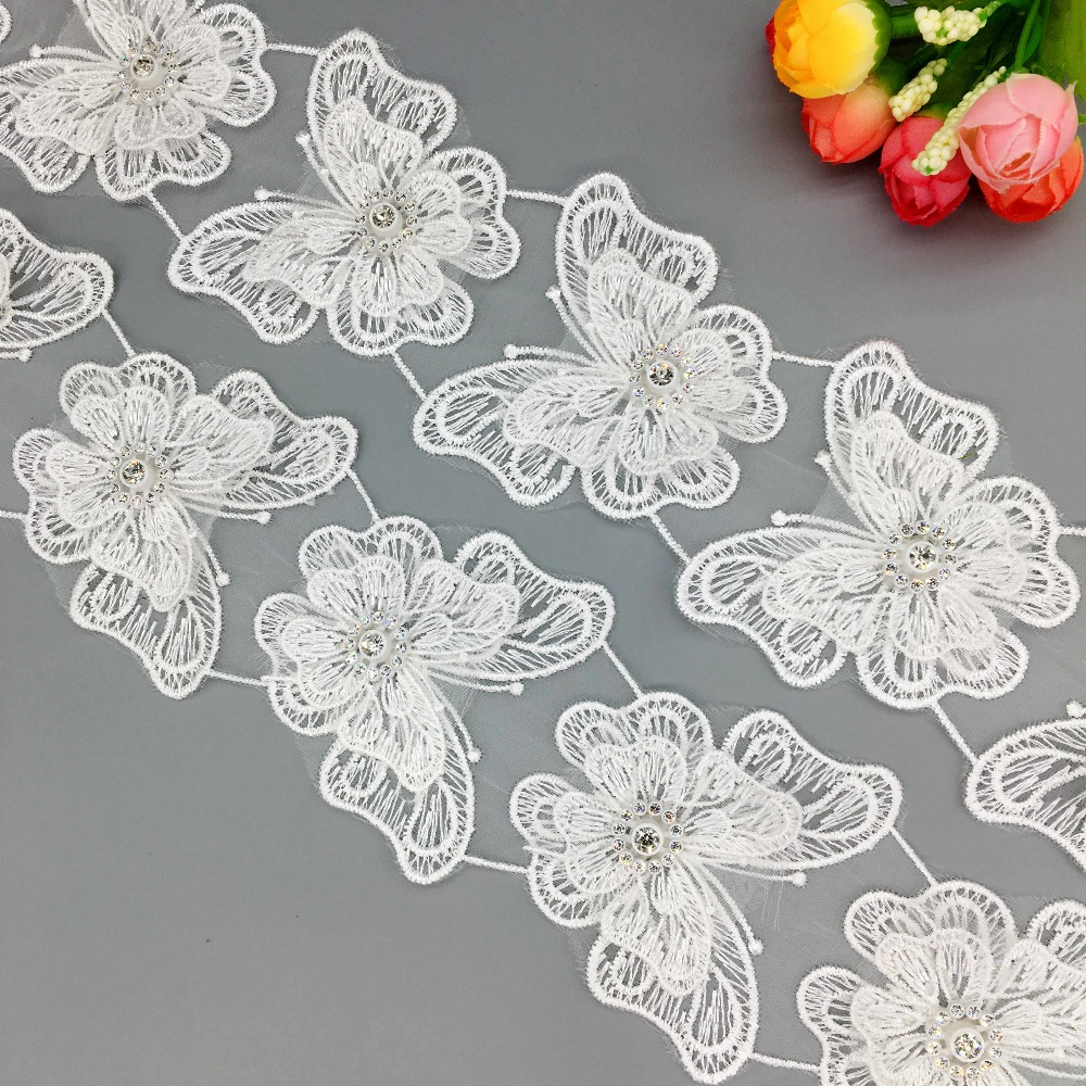 10X White 3D Diamond Butterfly Embroidered Lace  Trim Ribbon Double Layered Applique Handmade Wedding Dress DIY Sewing Craft