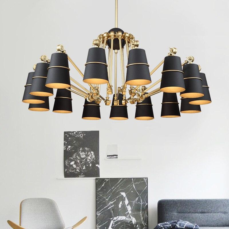 modern design iron lampshade chandelier for living room gold long arms adjustable black hanging light spider