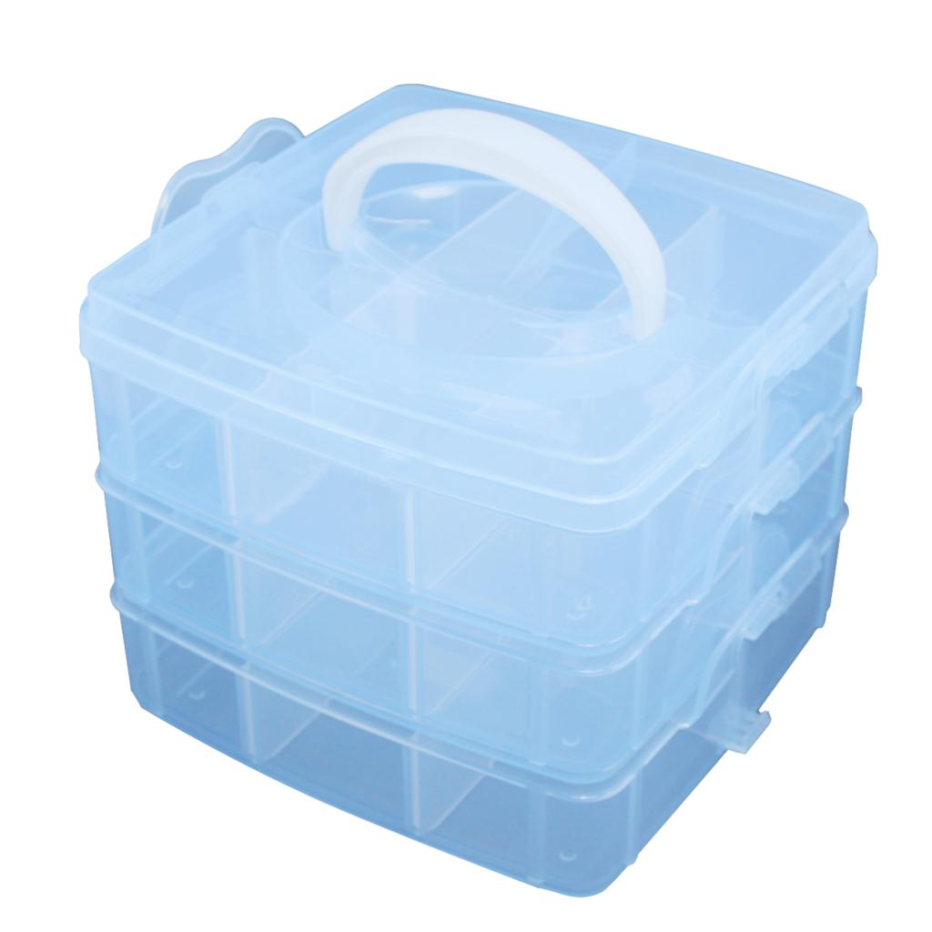 Blue Plastic Empty 3 layer Storage bag Case Box Nail Art Craft Makeup travel aluminum blue dji mavic pro storage bag case box suitcase for drone battery remote controller accessories