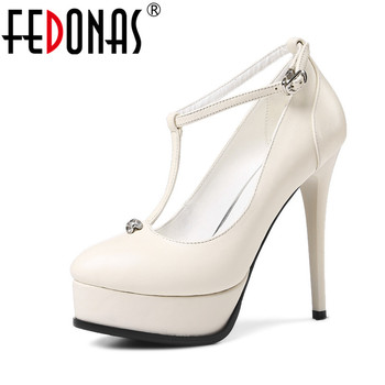 FEDONAS  Sexy T-strap Women Ultral High Heeled 13CM Platforms Wedding Party Shoes Genuine Leather Night Club Pumps Shoes Woman