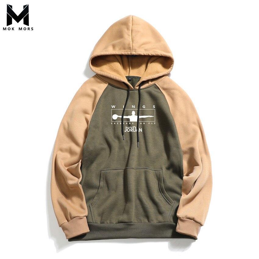 Men Hoodies Sweatshirts Sportswear Long-Sleeve High-Street-Jogger Fashion Print Wild-Letter-Print