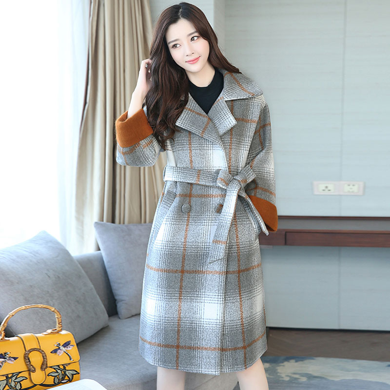 2017 New Women winter Plaid Slim Jacker Turn Down Collar Sashes Print coat cool outerwear Jacket Windproof Office Lady coat