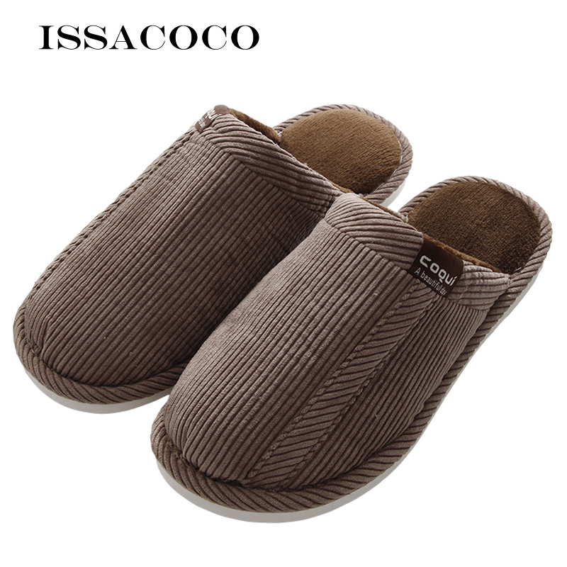 ISSACOCO Men Winter Warm Slippers Cotton Slippers Men's Slippers Lovers Home Furry Slippers Men's Shoes For Bedroom Zapatillas fghgf shoes men s slippers mak