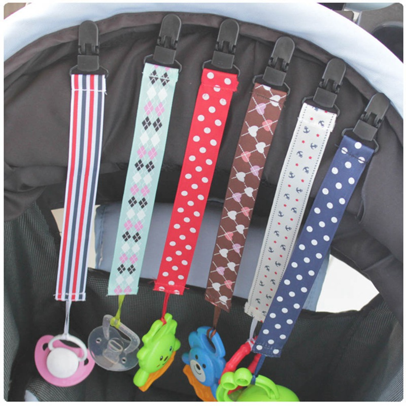 1Pcs Baby Stroller Accessories Color Ribbon Baby Pacifier Chain Clip Baby Teether Anti-lost Chain With Clip