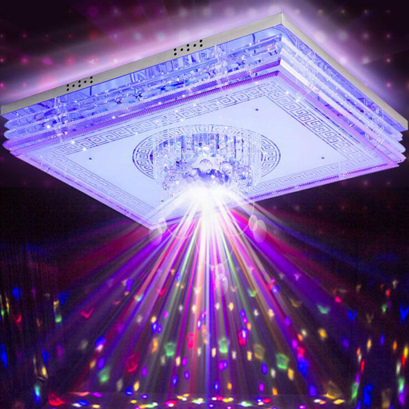 Rectangular living room crystal lamp home smart creative music Bluetooth colorful led ceiling lamp bedroom lighting led fixtureRectangular living room crystal lamp home smart creative music Bluetooth colorful led ceiling lamp bedroom lighting led fixture