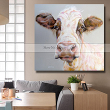 Animal Canvas Painting Modern White Cow Oil Painting On Canvas Cotton Wall Paintings Picture For Living Room Wall Art Wall Decor