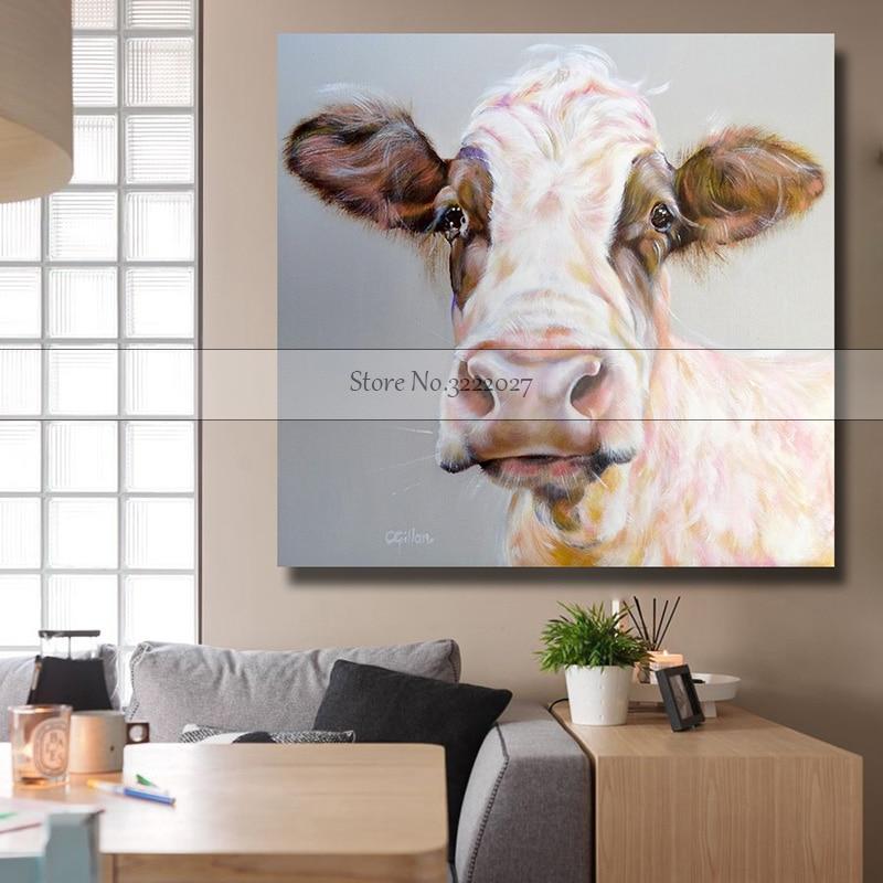 Animal toile peinture moderne blanc vache peinture à l'huile sur toile coton peintures murales photo pour salon mur Art mur décor