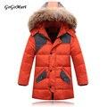 2015 meninos casacos de inverno crianças jaqueta de inverno casaco com capuz de pele longo quente crianças grossas de pato para baixo Outerwear BC087